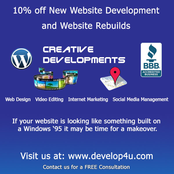 10% off New Website Development and Website Rebuilds: If your Website is looking like something built on a Windows '95 it may be time for a makeover. Visit us at: https://www.develop4u.com. Contact us for a FREE Consultation.
