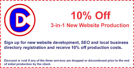 Coupon: 10% off our 3 in 1 New Website Production Package at Creative Developments in Tempe Arizona near Scottsdale and Phoenix AZ
