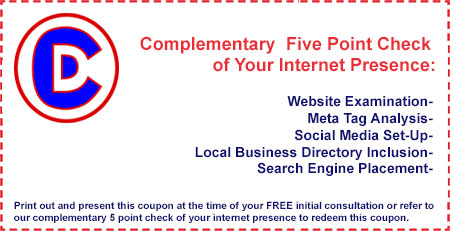 Coupon: Complementary Five Point Check of Your Internet Presence Package at Creative Developments in Tempe Arizona near Scottsdale and Phoenix AZ