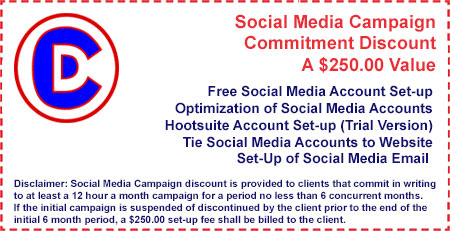 Coupon: Social media management campaign commitment discount available at Creative Developments in Tempe Arizona near Scottsdale and Phoenix AZ
