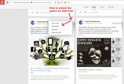 How to Show the Full Options Menu on a Google Plus Page Post