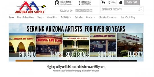 Arizona Art Supply - Home Page Screen Shot
