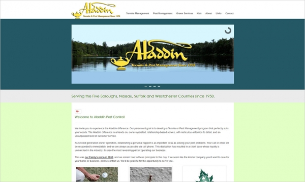 Aladdin Pest Control - Home Page Screen Shot