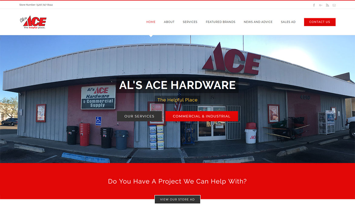 Al's Ace Hardware - Home Page Screen Shot