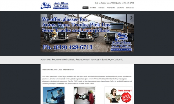 Auto Glass International - Home Page Screen Shot