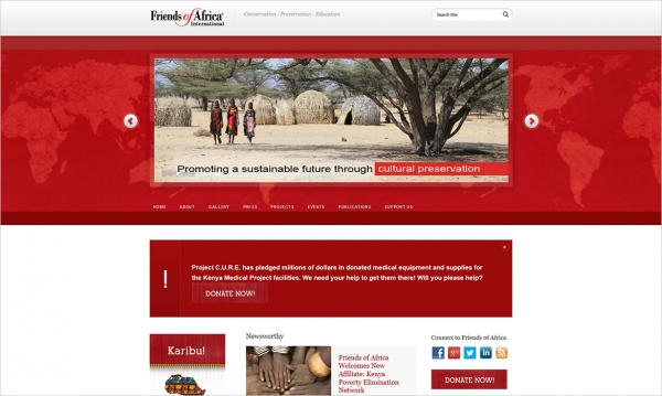 Friends of Africa International - Home Page Screen Shot