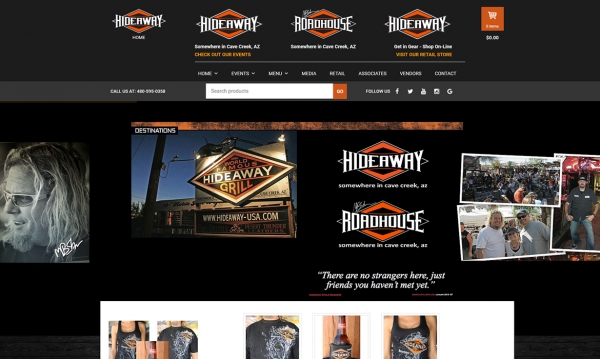 The Hideaway Grill: Cave Creek - Home Page Screen Shot