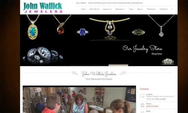 John Wallick Jewelers - Home Page Screen Shot