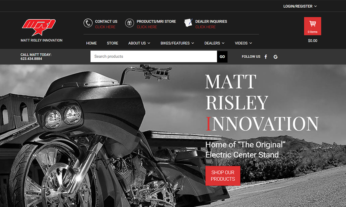 Matt Risley Innovation - Home Page Screen Shot