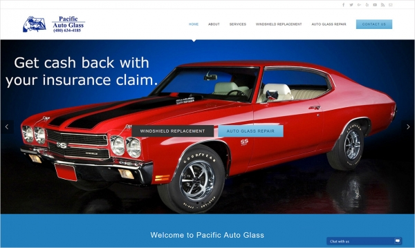 Pacific Auto Glass - Home Page Screen Shot