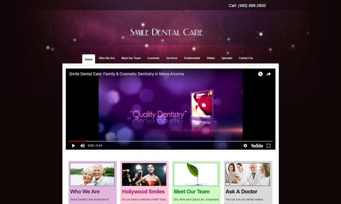 Smile Dental Care - Home Page Screen Shot
