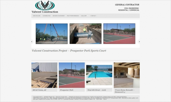Valwest Construction - Home Page Screen Shot